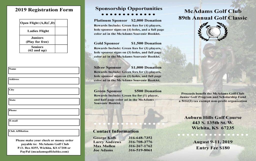 2019 golf tournament registration form